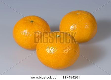 Three Clementines Close Up