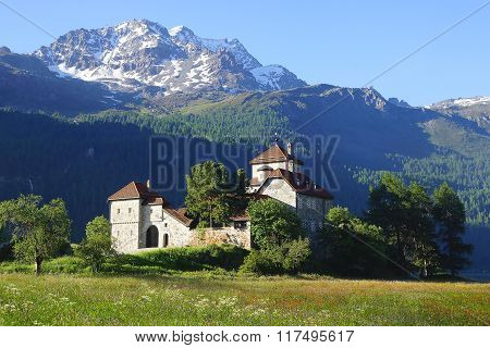 SILVAPLANA, SWITZERLAND- JUNE 25, 2015: Silvaplana Castle on the Silvaplana lake. Friedrich Nietzsch