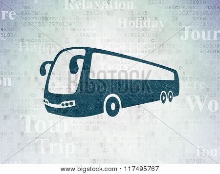 Travel concept: Bus on Digital Paper background
