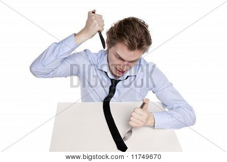 Young Man Eats His Necktie