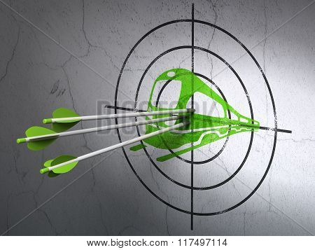 Vacation concept: arrows in Train target on wall background