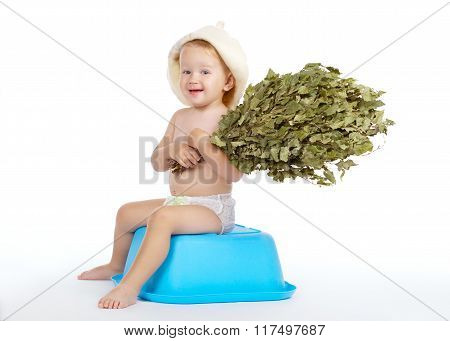 boy with bath hat and broom