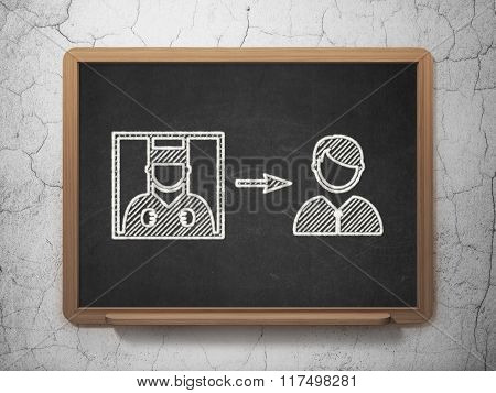 Law concept: Criminal Freed on chalkboard background