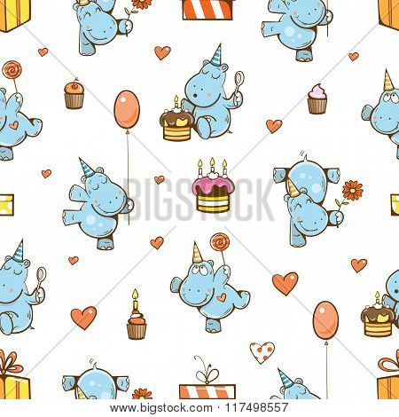 Pattern With Hippos.