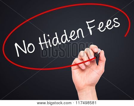 Man Hand Writing No Hidden Fees With Black Marker On Visual Screen