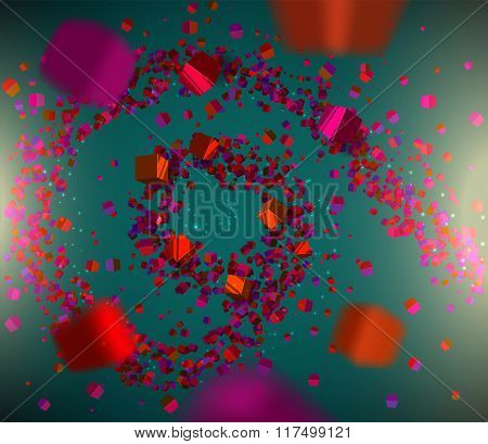 Abstract 3D Background Consisting Of Cubes, Spiral, Vector Illustration.