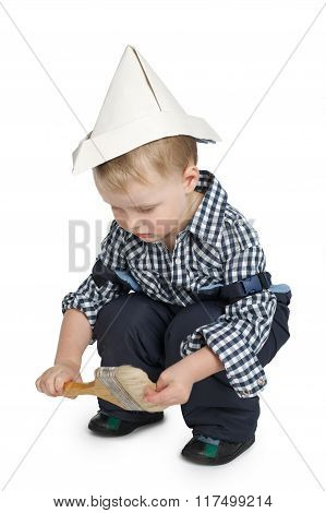 little painter isolated on white