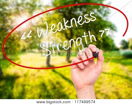 Man Hand Writing Weakness - Strength With Black Marker On Visual Screen