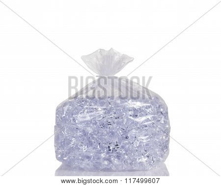 Clear Plastic Bag Filled With Ice Cubes Isolated On White Background