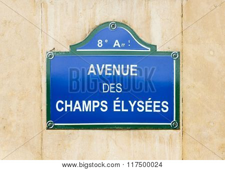 Avenue des Champs Elysees street sign in Paris, France
