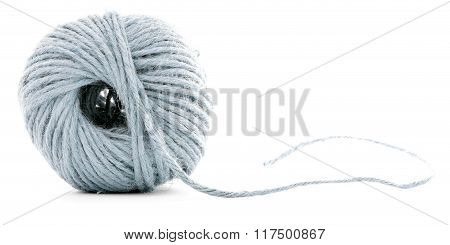 Blue Wool Clew, Crochet Thread Ball Isolated On White Background