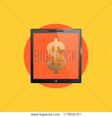 Business icon, tablet PC computer illustration