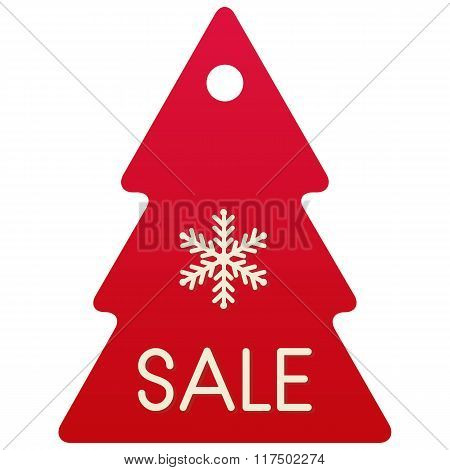 Vector Sale Shopping Tag, Isolated Red Christmas Tree With White Snowflake On White Background
