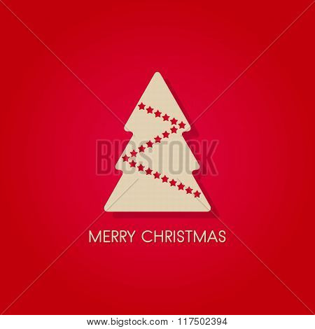 White Christmas Tree, Merry Christmas Symbol With Stars, Isolated Vector On Red Background
