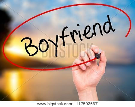 Man Hand Writing Boyfriend With Black Marker On Visual Screen.