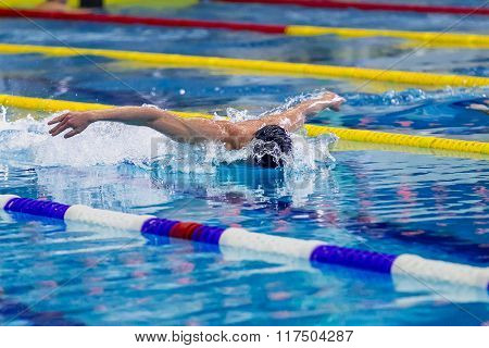 athlete male swimmer in pool