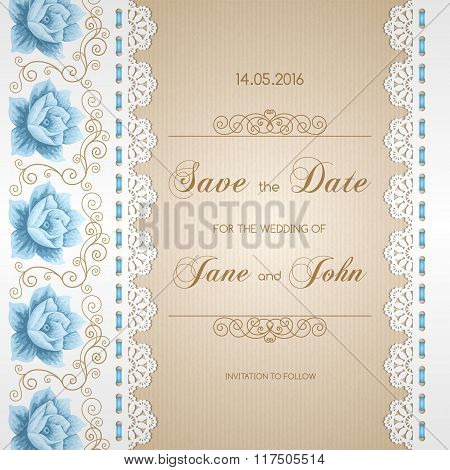 Wedding Card With Lace Doily