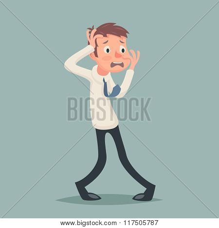 Vintage Businessman Suffer Emotion Fear Horror Depression Stress Character Icon on Stylish Backgroun
