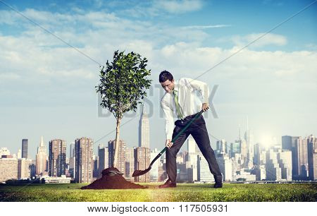 Shoveling Business District Cityscape Growth Tree Concept