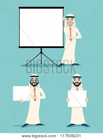 Businessman Advertising Sale Presentation Diagram Cartoon Character Arab Traditional National Muslim
