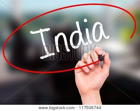 Man Hand Writing India With Black Marker On Visual Screen.