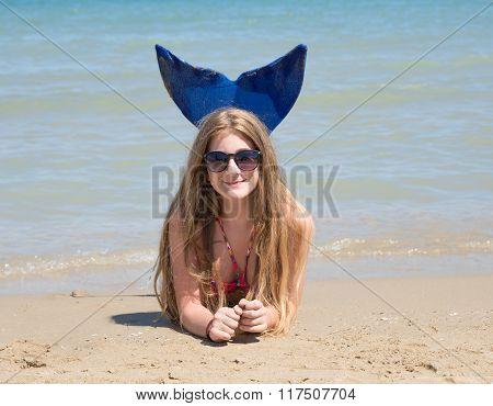Little Merrmaid On The Beach