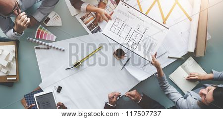 Business People Meeting Architecture Blueprint Design Concept