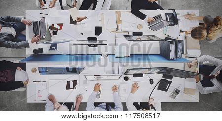 Analysis Aerial View Business Team Wireless Work Concept