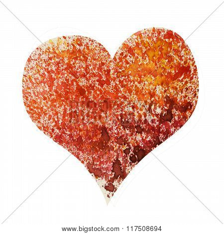 Watercolor heart isolated on white like fire.