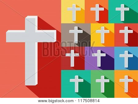 Christian Cross Icon. Alternative color options in blue, green, yellow,violet,orange.cross flat icon