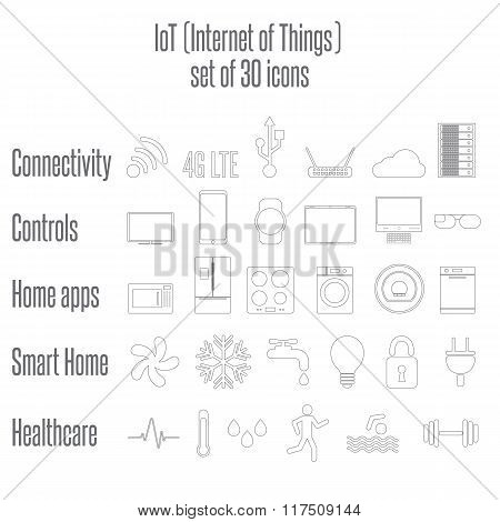 Internet of Things, IoT. Home Appliances. Set of 6 flat icons.