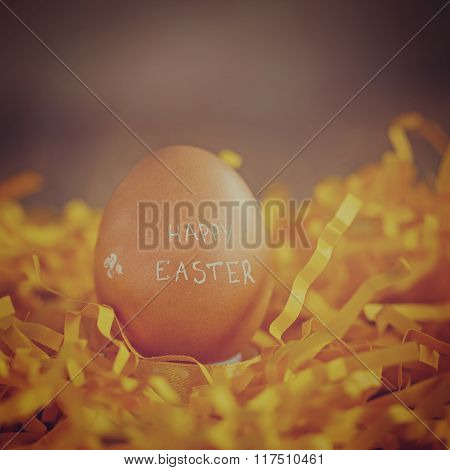 Easter Egg On Yellow Background.. Concept Happy Easter.toned Im