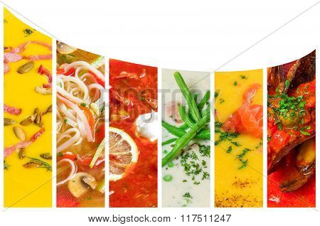 Collage from photos of soups puree