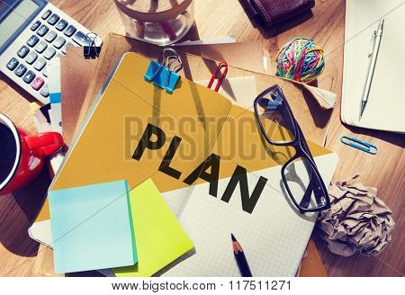 Stationary Office Desk Messy Planning Plan Concept