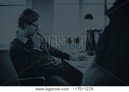 Focusing Thinking Planning Office Worker Business Concept