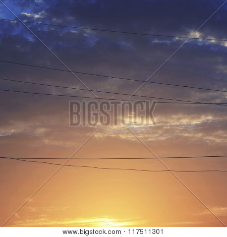 Vibrant Twilight Dawn Energy Electric Wire Peace Concept
