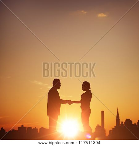 Business Partner Handshake Greeting Working Concept