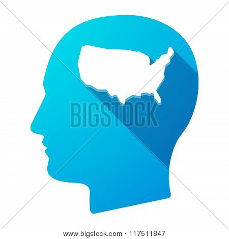 Long Shadow Male Head Icon With  A Map Of The Usa