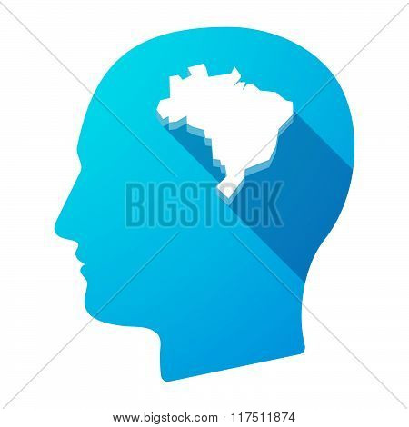 Long Shadow Male Head Icon With  A Map Of Brazil