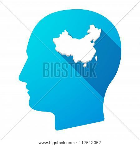 Long Shadow Male Head Icon With  A Map Of China