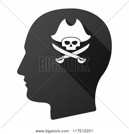 Long Shadow Male Head Icon With A Pirate Skull
