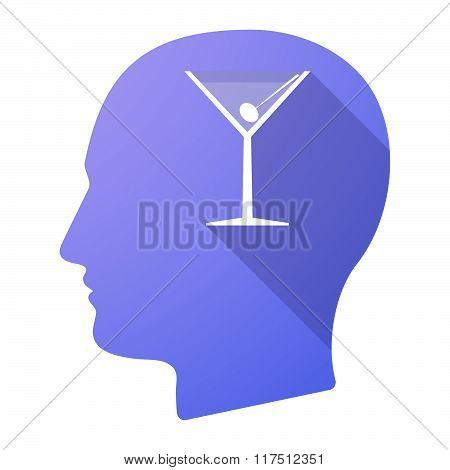 Long Shadow Male Head Icon With A Cocktail Glass