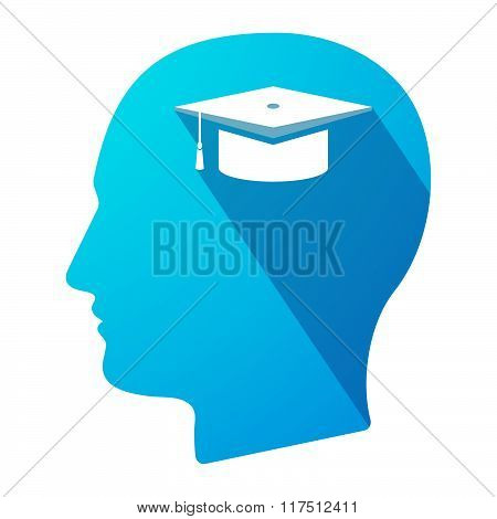 Long Shadow Male Head Icon With A Graduation Cap