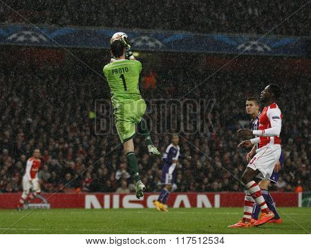 LONDON, ENGLAND - NOV 04 2014: Silvio Proto of Anderlecht makes a save during the UEFA Champions League match between Arsenal from England and Anderlecht from Belgium played at The Emirates Stadium.