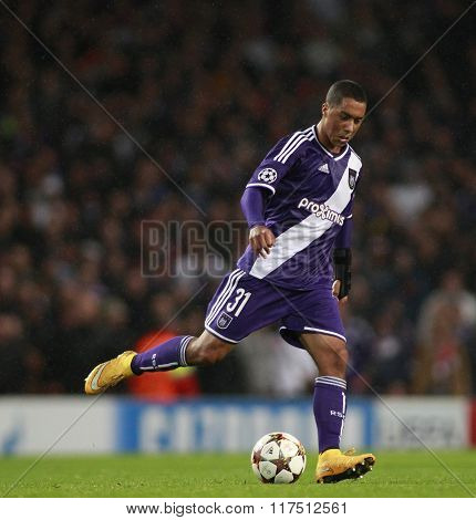 LONDON, ENGLAND - NOV 04 2014: Davy Roef of Anderlecht during the UEFA Champions League match between Arsenal from England and Anderlecht from Belgium played at The Emirates Stadium.