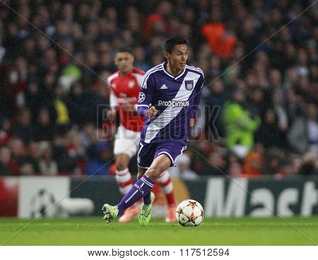 LONDON, ENGLAND - NOV 04 2014: Sacha Kljestan of Anderlecht during the UEFA Champions League match between Arsenal from England and Anderlecht from Belgium played at The Emirates Stadium.