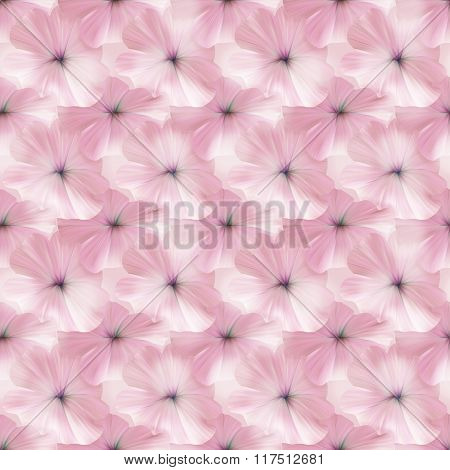 Pink Petunia Seamless Pattern For Fabric Or Textile Design.