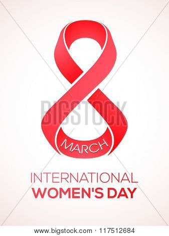 Stylish text 8 March, International Women's Day on shiny background, Can be used as template, banner or flyer design.