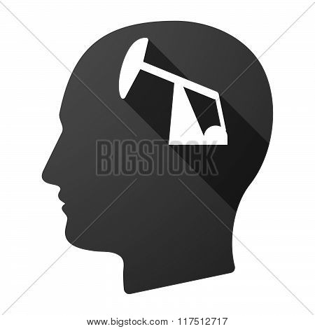 Long Shadow Male Head Icon With A Horsehead Pump