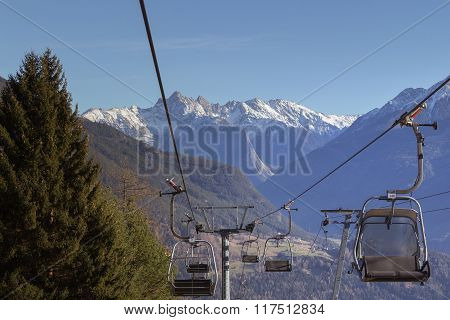 Mountains In Austria With The Lift